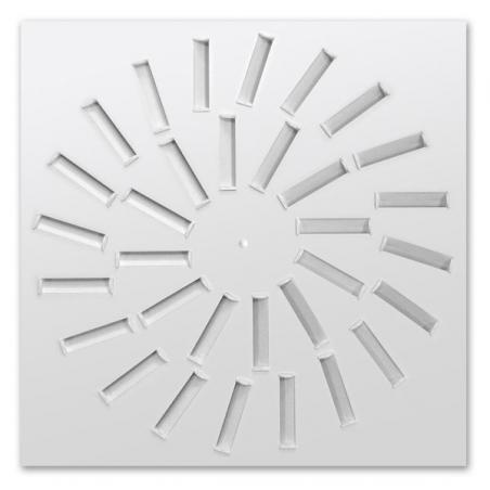Anemostat hranatý s bielymi regulovateľnými lamelami